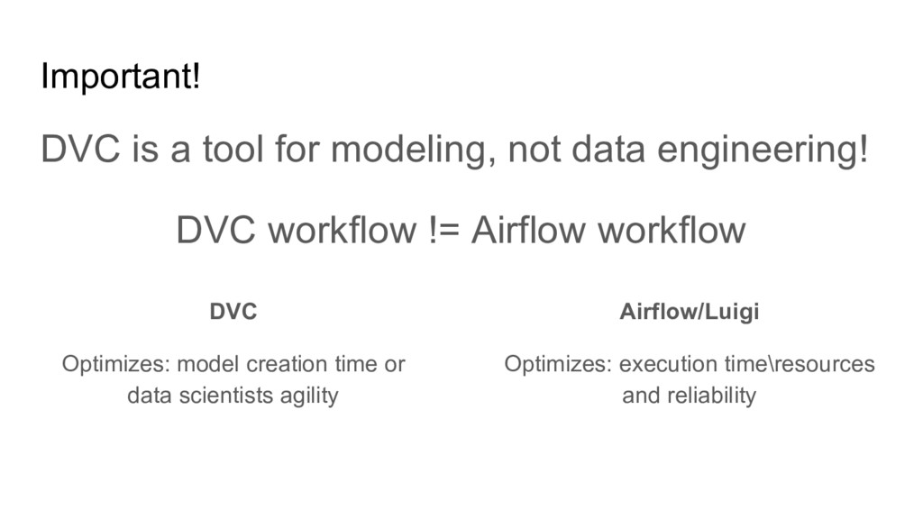 Important! DVC is a tool for modeling, not data...
