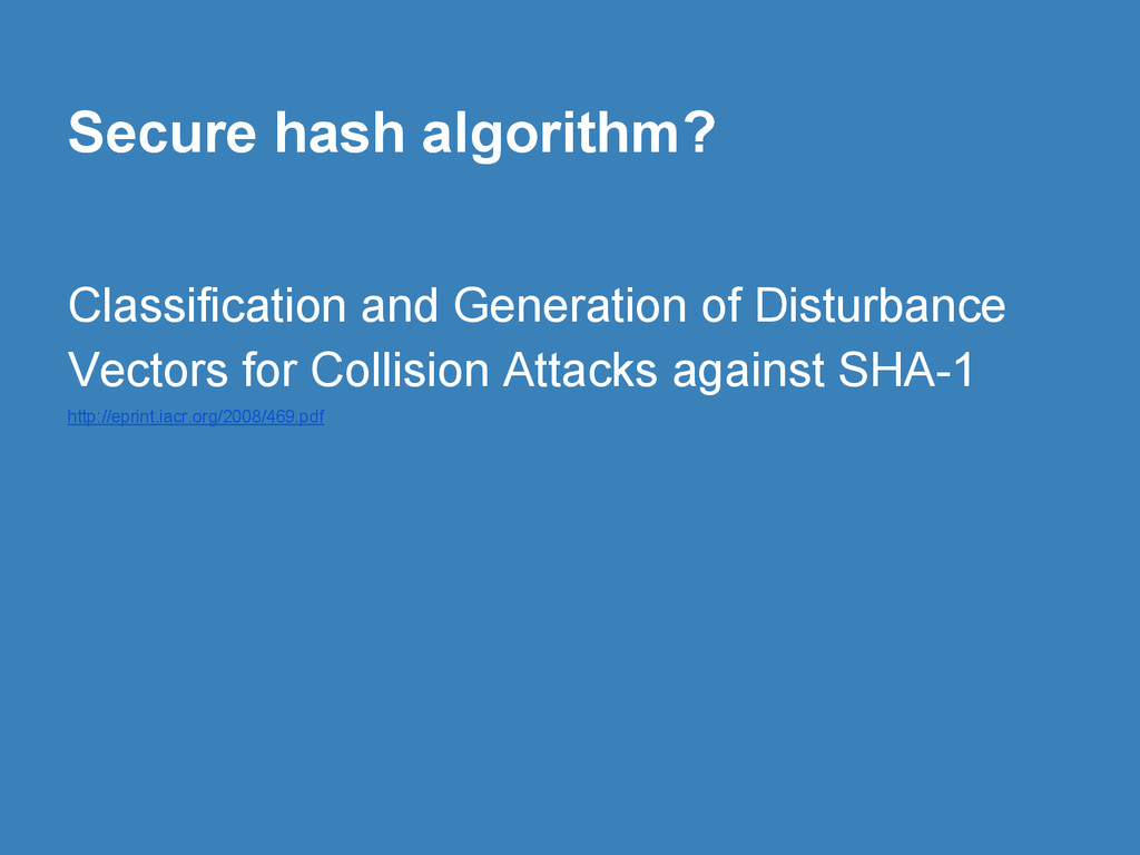 Secure hash algorithm? Classification and Genera...