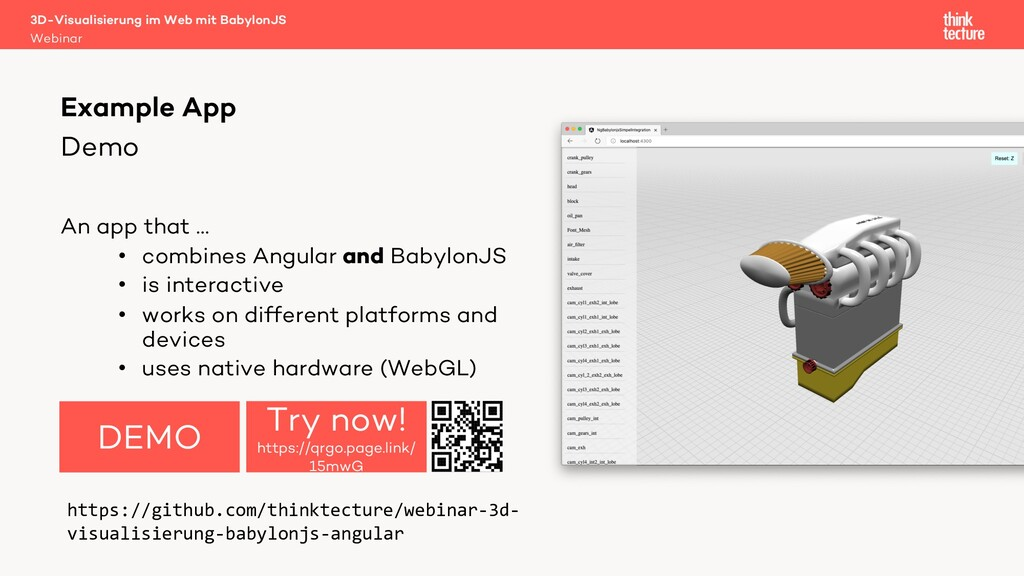 An app that … • combines Angular and BabylonJS ...