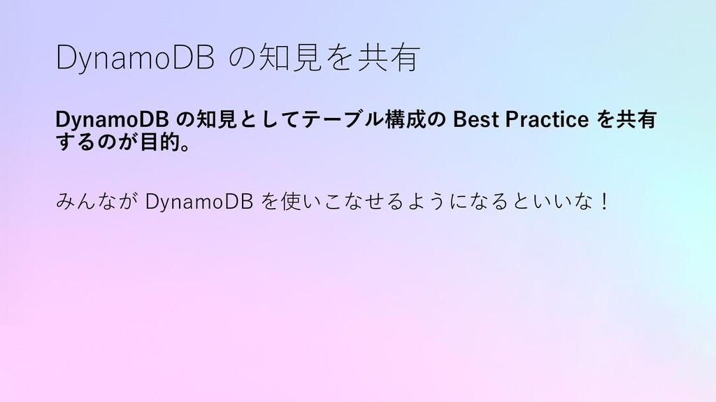 DynamoDB の知見を共有 DynamoDB の知見としてテーブル構成の Best Pra...