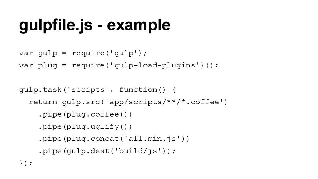 gulpfile.js - example var gulp = require('gulp'...