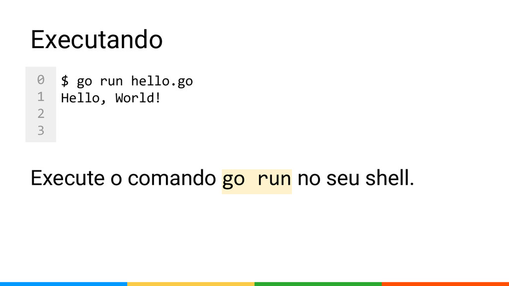 0 1 2 3 Executando Execute o comando go run no ...