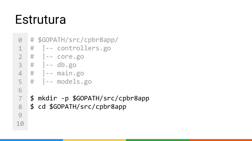 0 1 2 3 4 5 6 7 8 9 10 Estrutura # $GOPATH/src/...