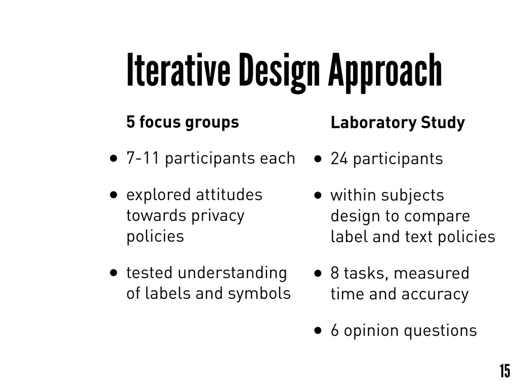 15 Laboratory Study • 24 participants • within ...