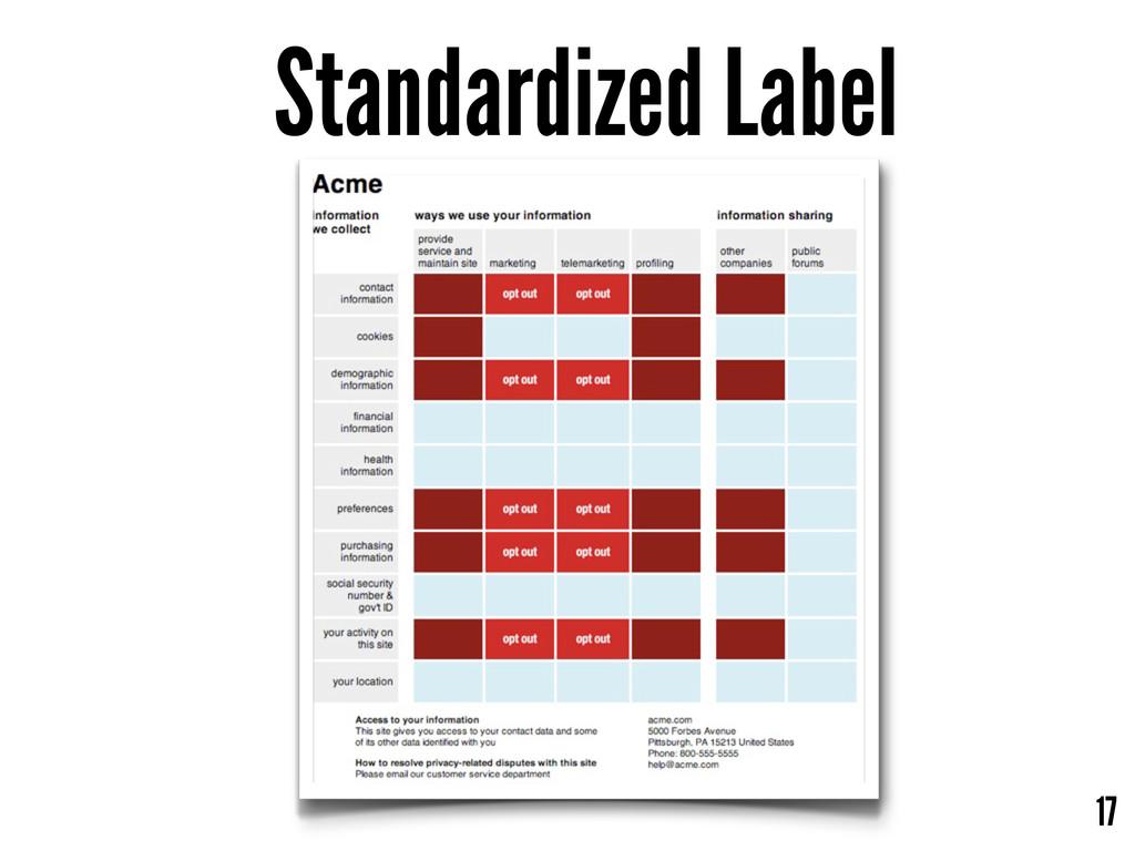 Standardized Label 17