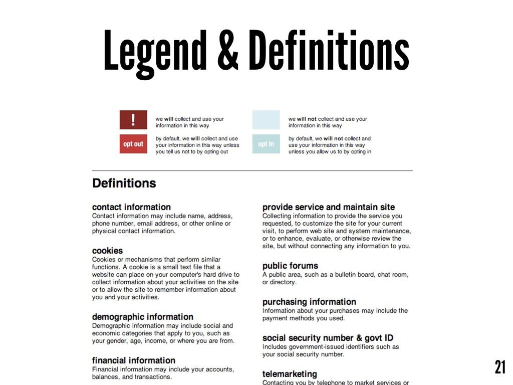 21 Legend & Definitions