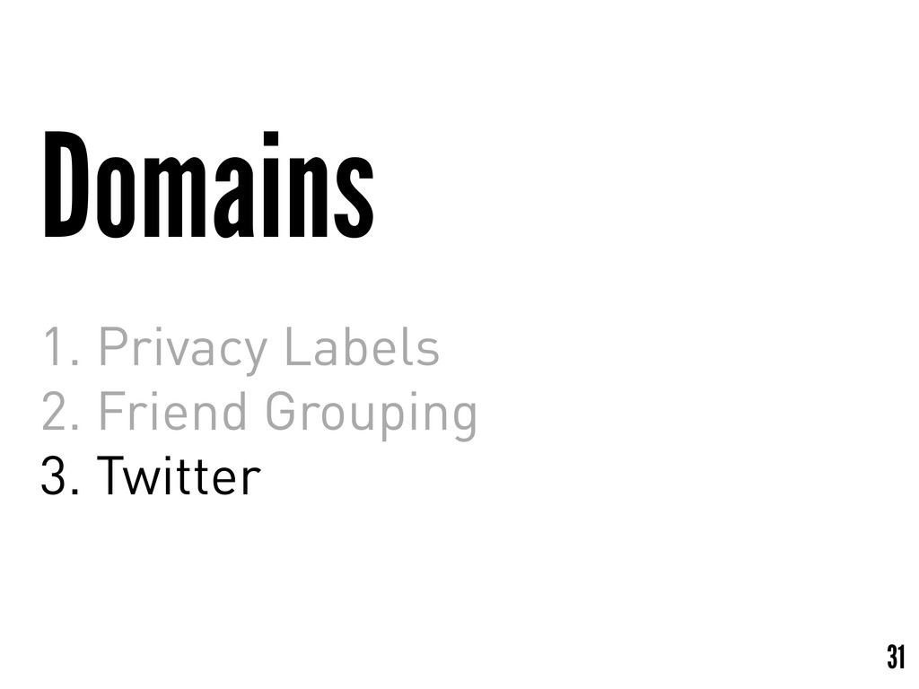 Domains 1. Privacy Labels 2. Friend Grouping 3....