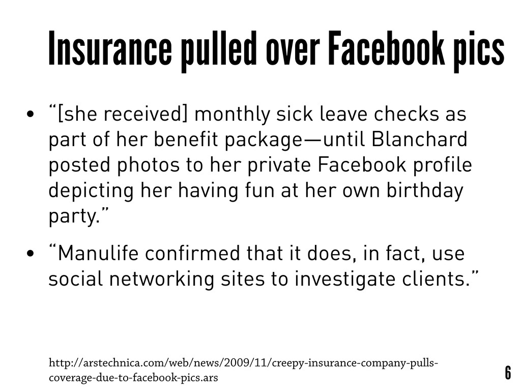 """Insurance pulled over Facebook pics • """"[she rec..."""