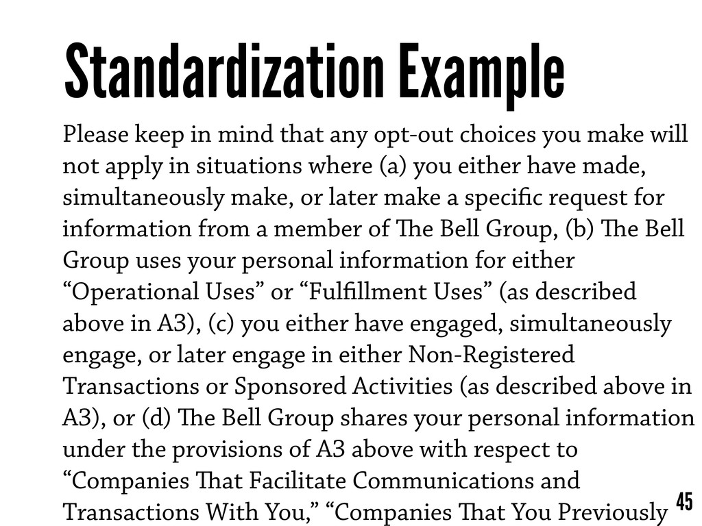 Standardization Example 45 Please keep in mind ...