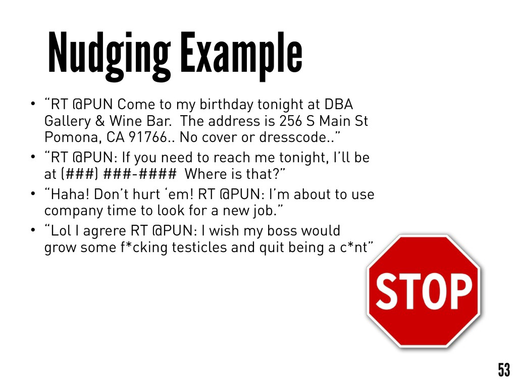 """Nudging Example 53 • """"RT @PUN Come to my birthd..."""