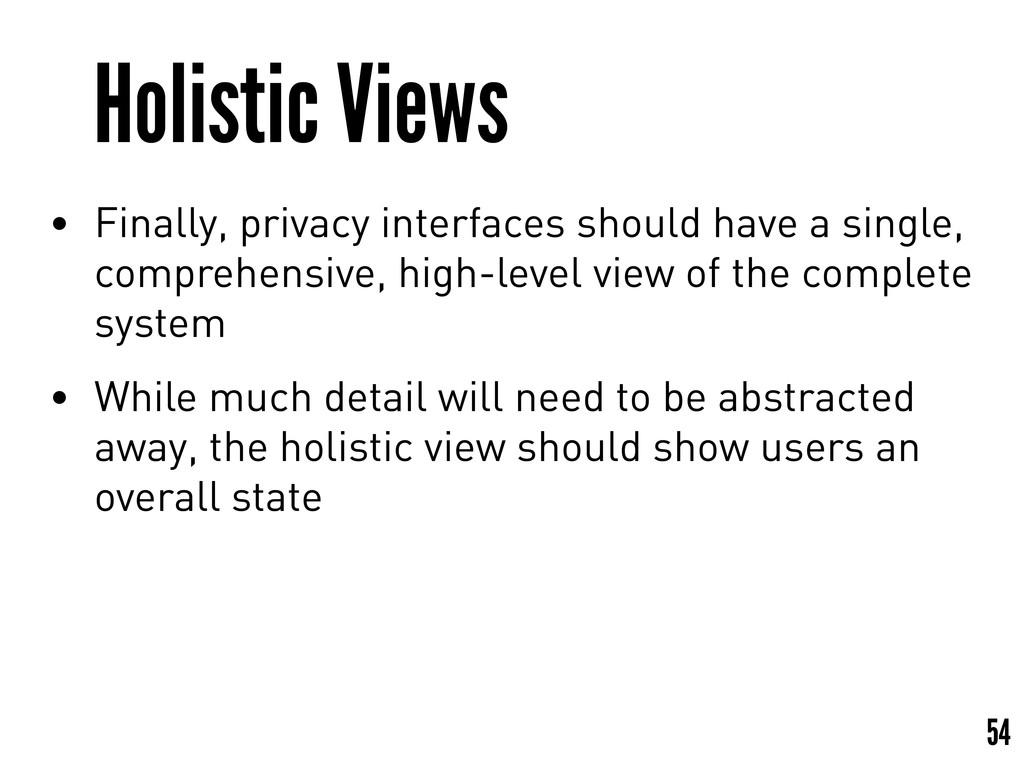 Holistic Views • Finally, privacy interfaces sh...
