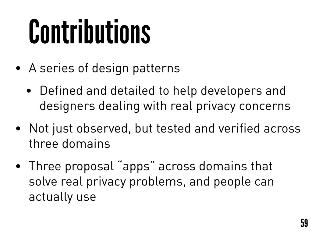 Contributions • A series of design patterns • D...