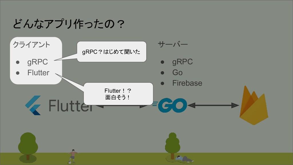 #bitvalley2020 どんなアプリ作ったの? サーバー ● gRPC ● Go ● F...