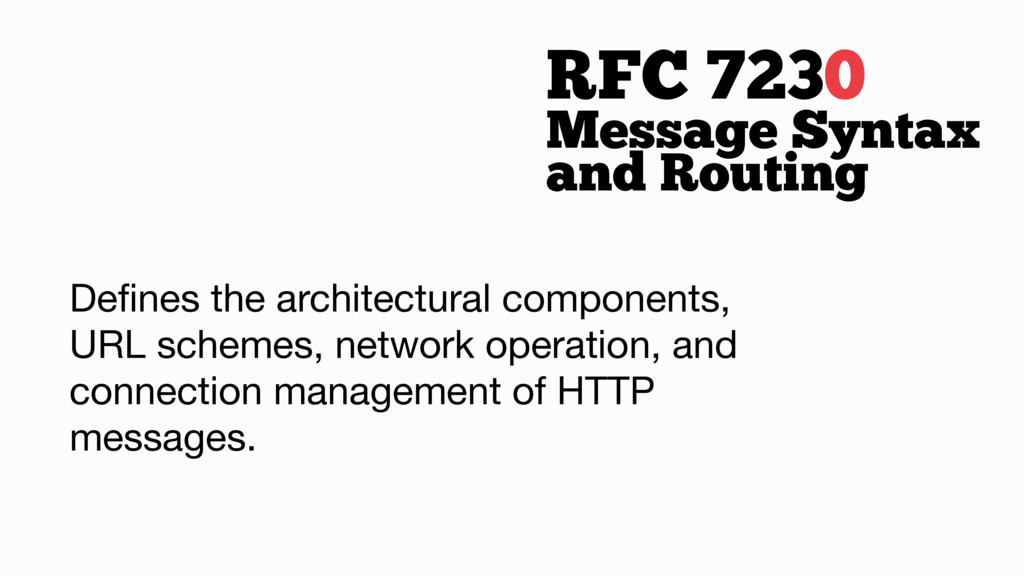 RFC 7230 Defines the architectural components, U...