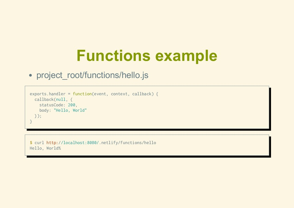 Functions example project_root/functions/hello....