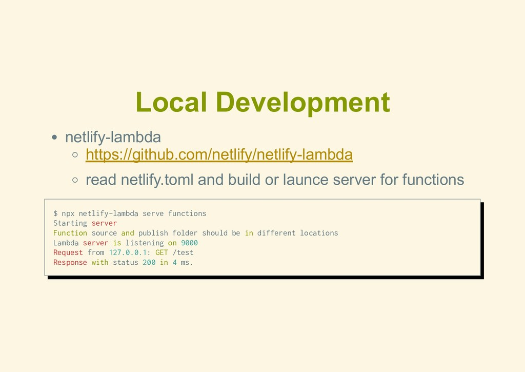 Local Development netlifylambda https://github...