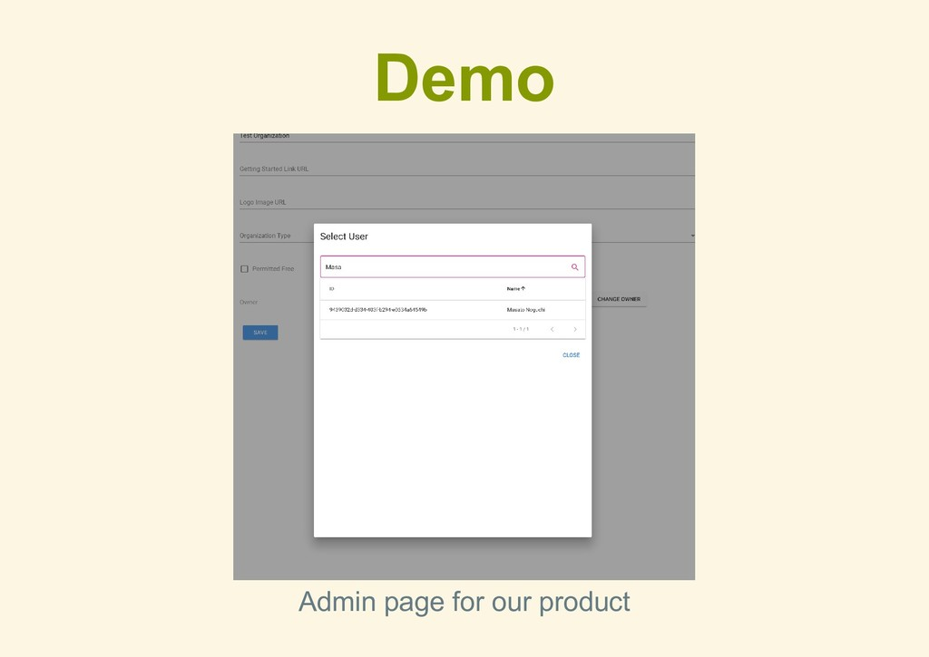 Demo Admin page for our product