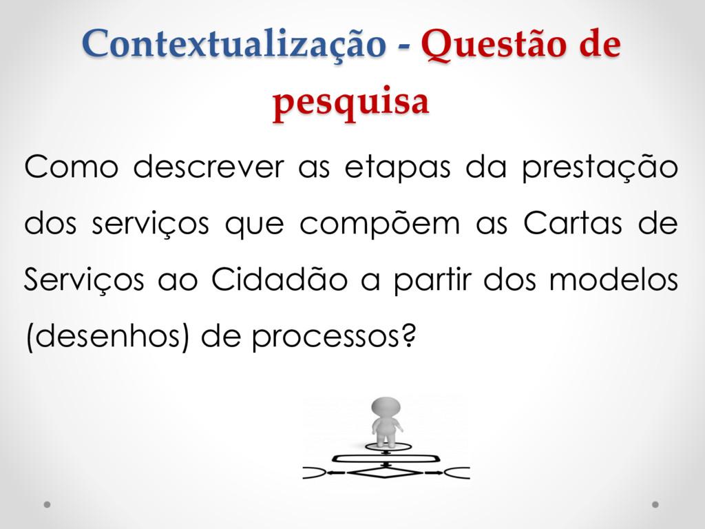 Contextualização - Questão de pesquisa Como des...