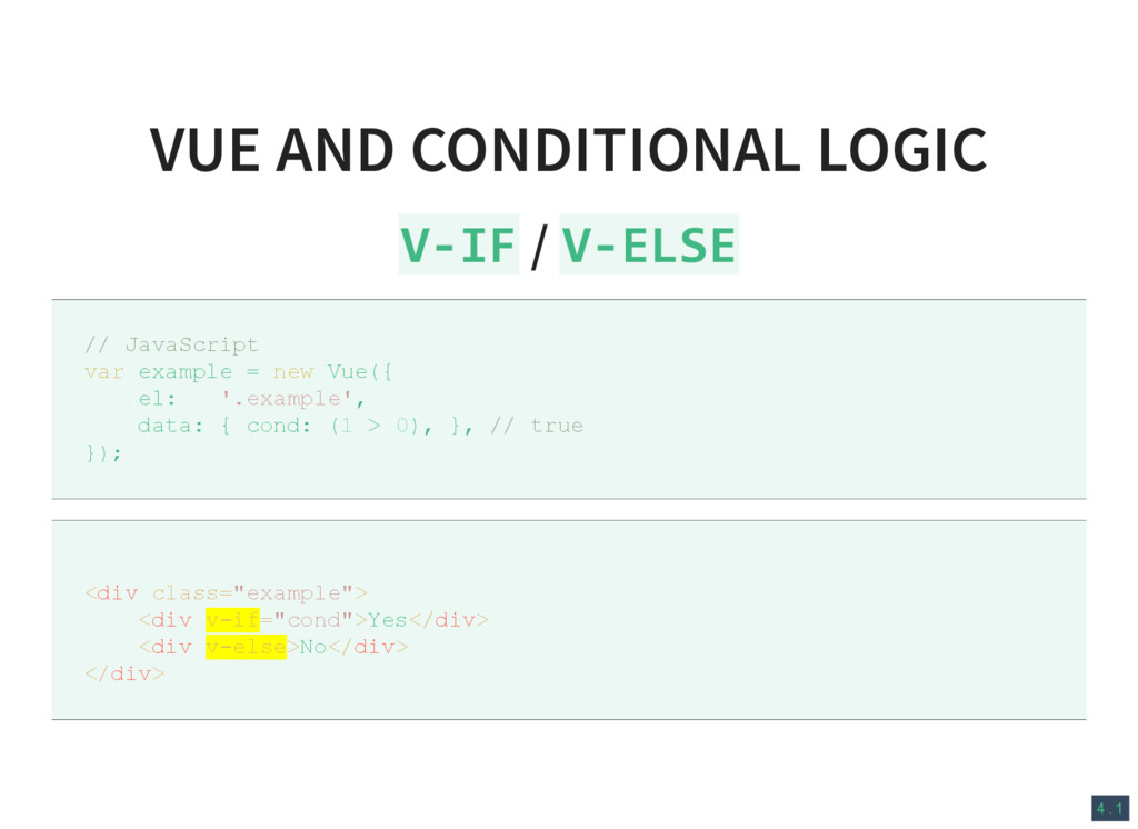 4 . 1 VUE AND CONDITIONAL LOGIC V‐IF / V‐ELSE /...