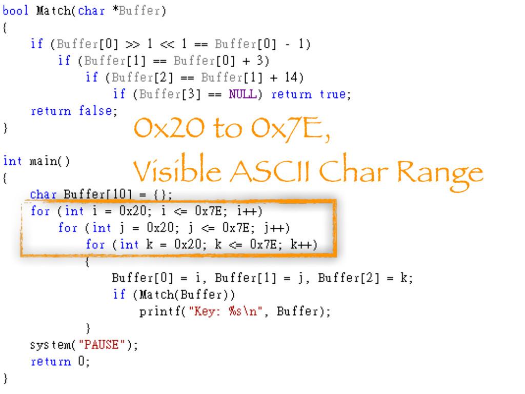 0x20 to 0x7E, Visible ASCII Char Range