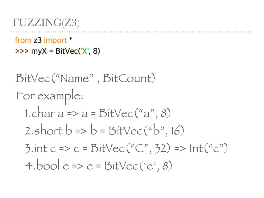 "FUZZING(Z3) BitVec(""Name"" , BitCount) For examp..."