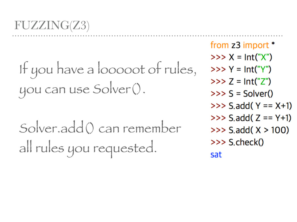 FUZZING(Z3) If you have a looooot of rules, you...
