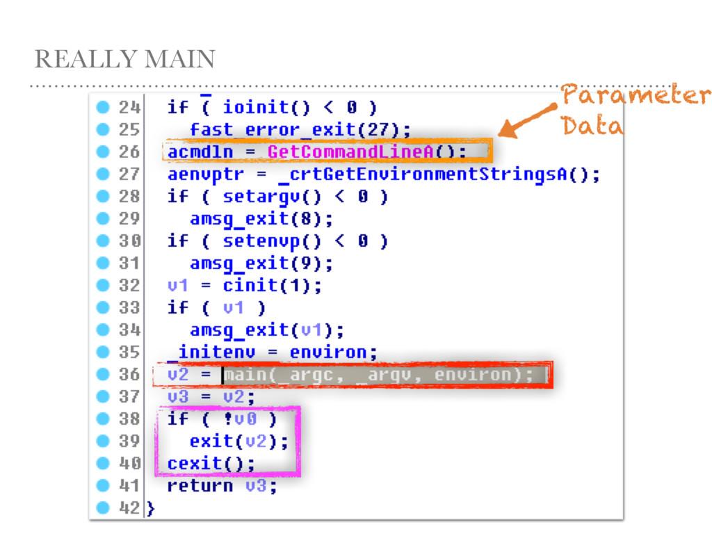 REALLY MAIN Parameter Data