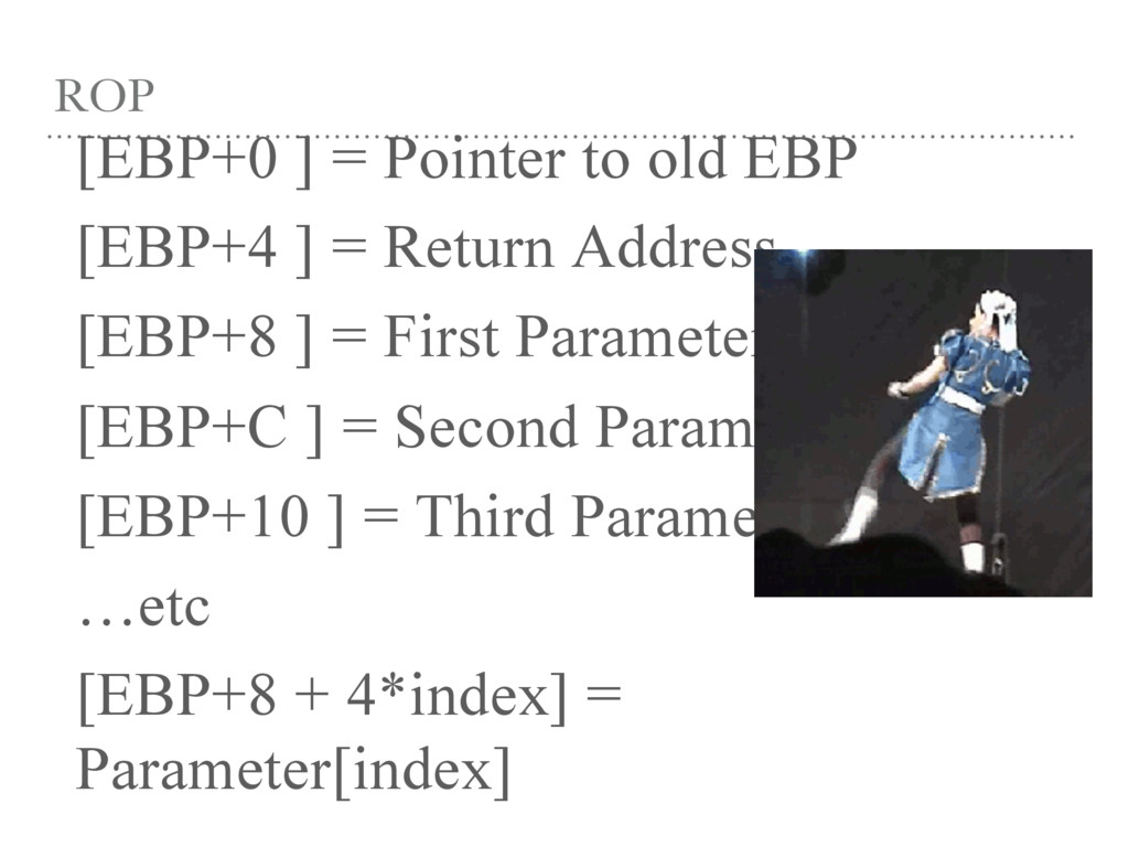 ROP [EBP+0 ] = Pointer to old EBP [EBP+4 ] = Re...