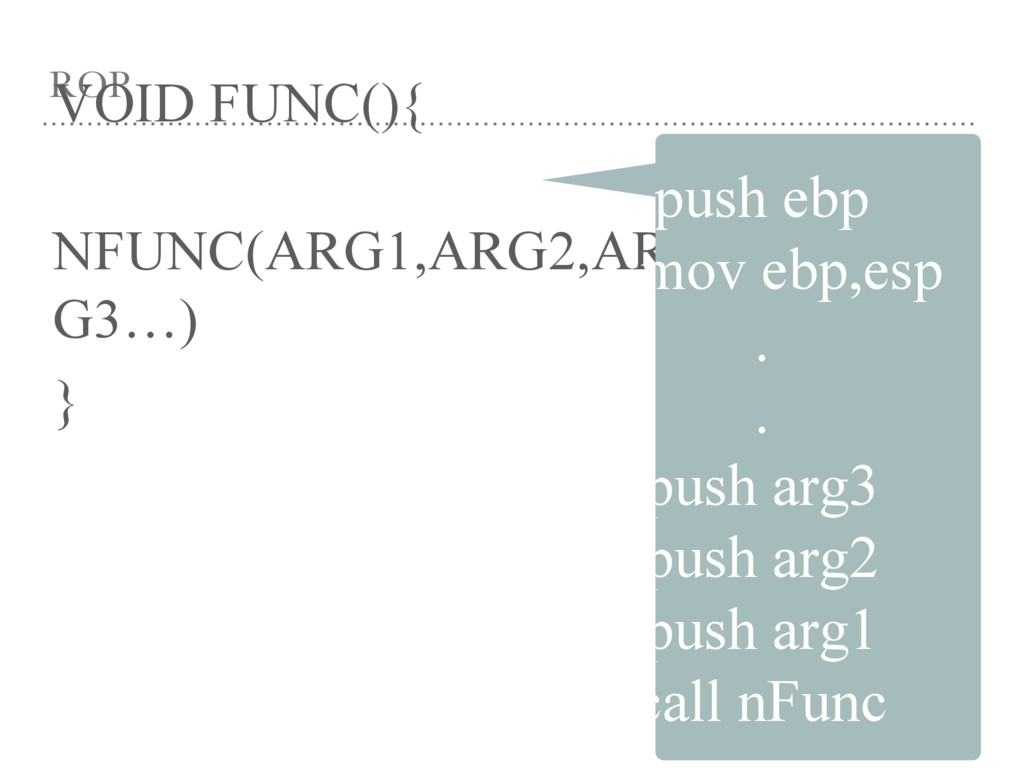 ROP VOID FUNC(){ NFUNC(ARG1,ARG2,AR G3…) } push...