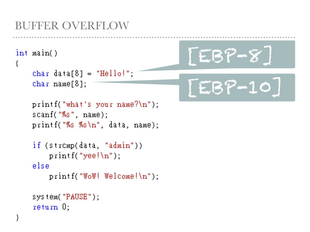 BUFFER OVERFLOW [EBP-8] [EBP-10]