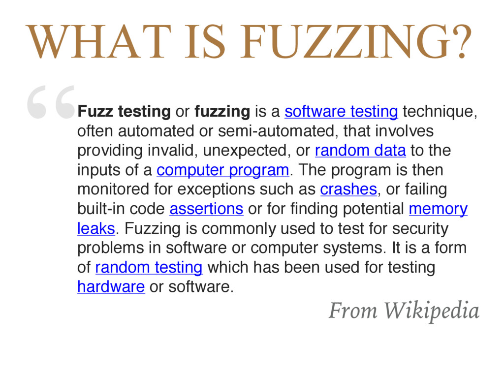 """""""Fuzz testing or fuzzing is a software testing ..."""