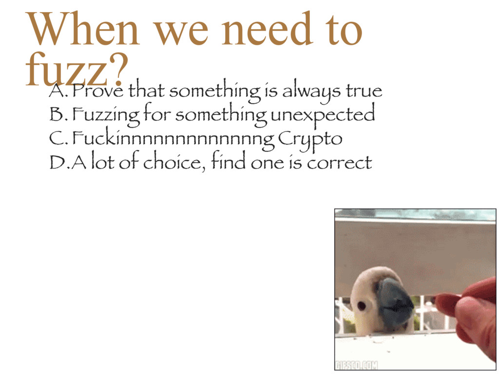 When we need to fuzz? A.Prove that something is...