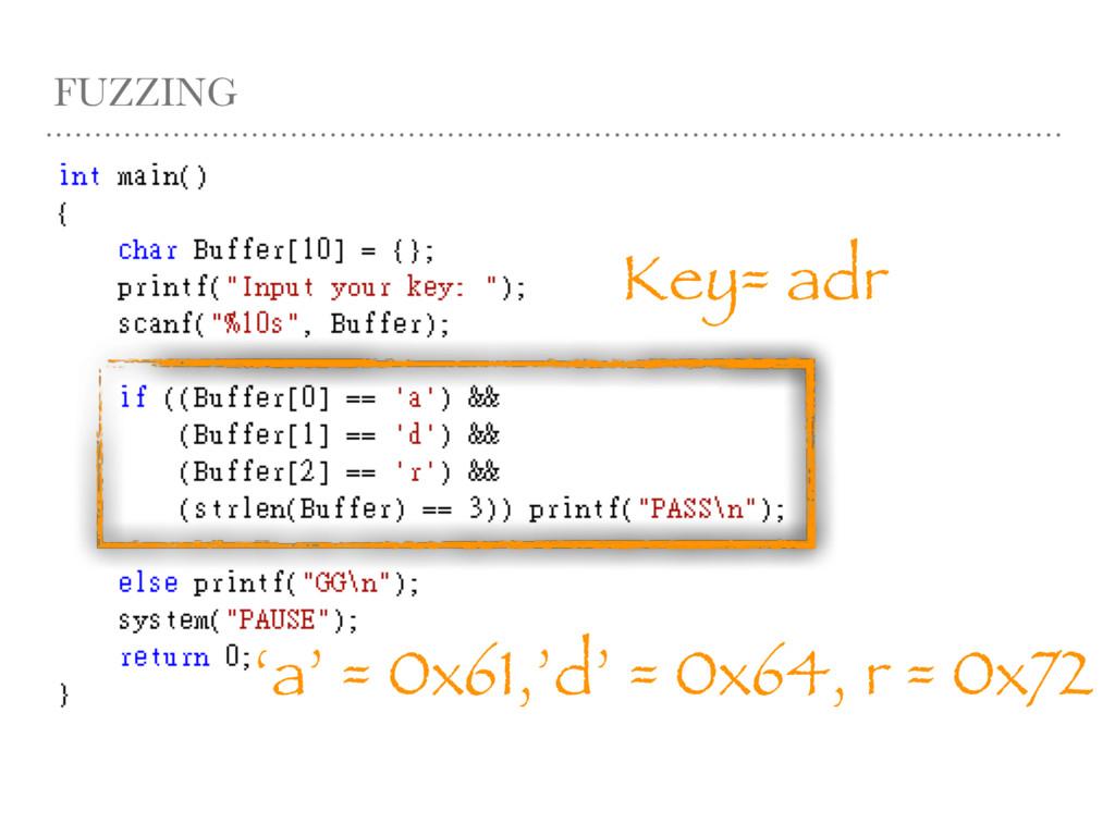 FUZZING Key= adr 'a' = 0x61,'d' = 0x64, r = 0x72