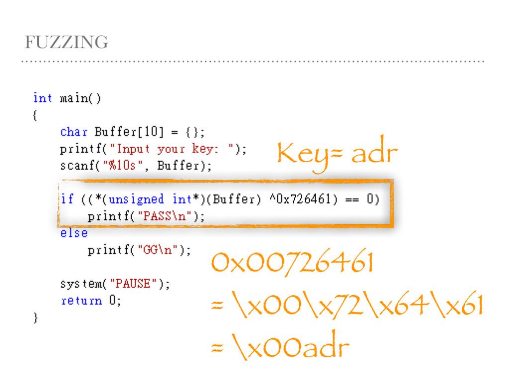 FUZZING Key= adr 0x00726461 = \x00\x72\x64\x61 ...