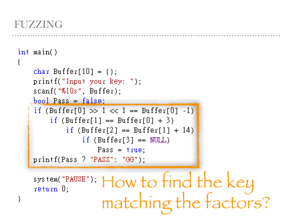 FUZZING How to find the key matching the factor...