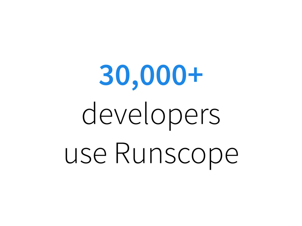 30,000+ developers use Runscope