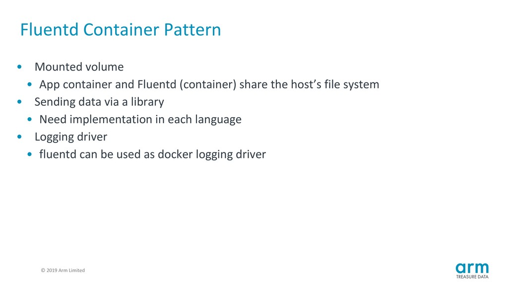 © 2019 Arm Limited Fluentd Container Pattern • ...