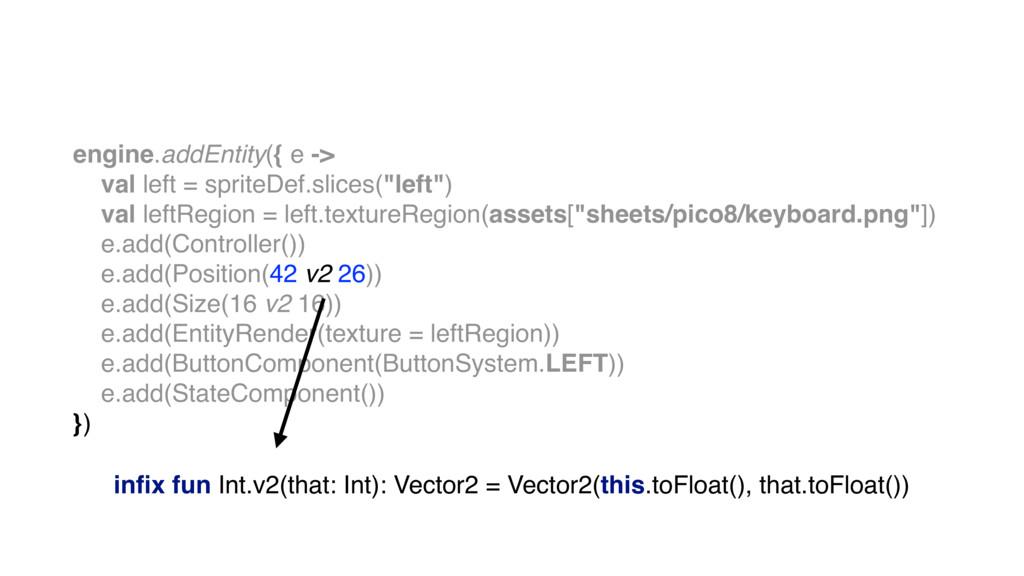 engine.addEntity({ e -> val left = spriteDef.sl...