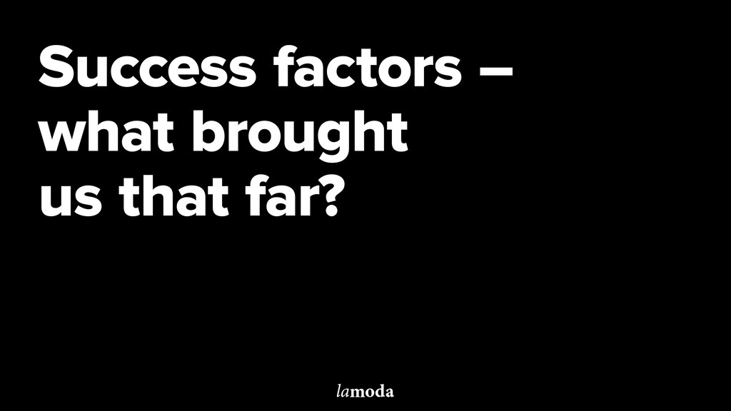 Success factors – what brought us that far?
