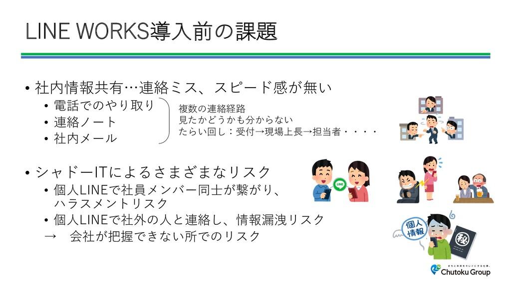 LINE WORKS導⼊前の課題 • 社内情報共有…連絡ミス、スピード感が無い • 電話でのや...