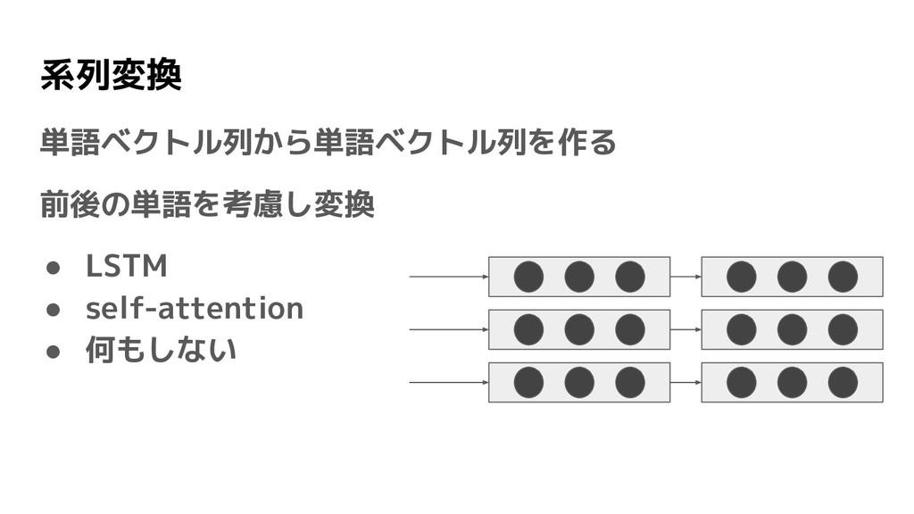 系列変換 単語ベクトル列から単語ベクトル列を作る 前後の単語を考慮し変換 ● LSTM ● s...