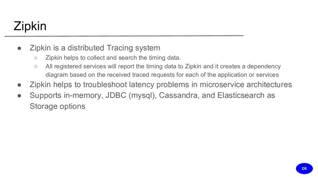 Zipkin ● Zipkin is a distributed Tracing system...