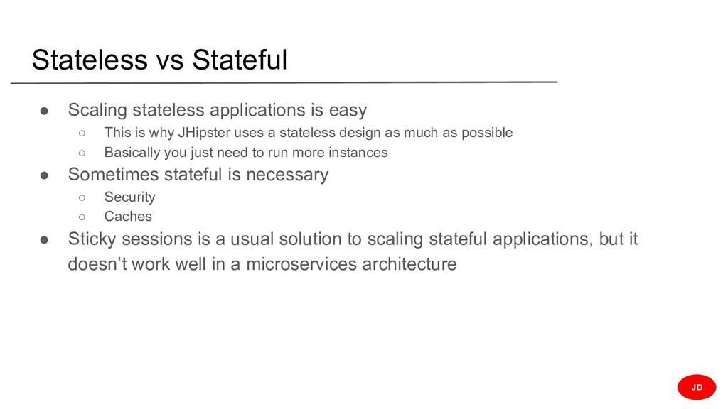 Stateless vs Stateful ● Scaling stateless appli...