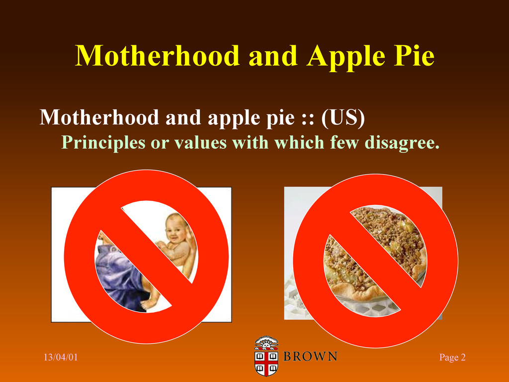 Motherhood and Apple Pie 13/04/01 Page 2 Mother...