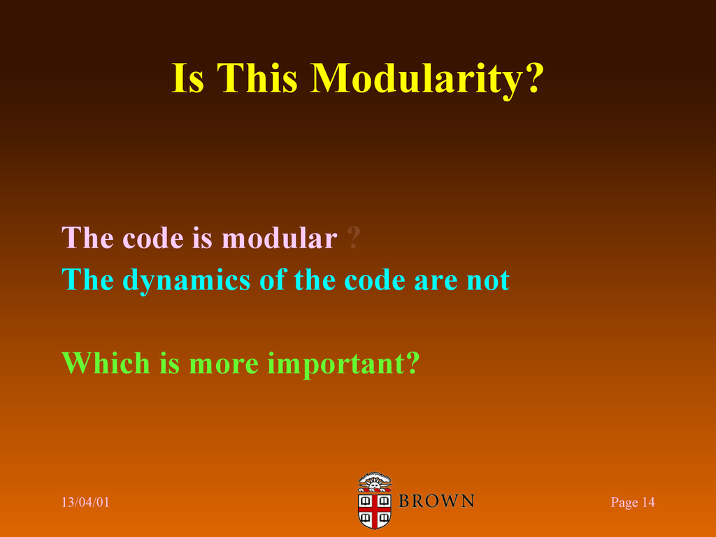 Is This Modularity? The code is modular ? The d...
