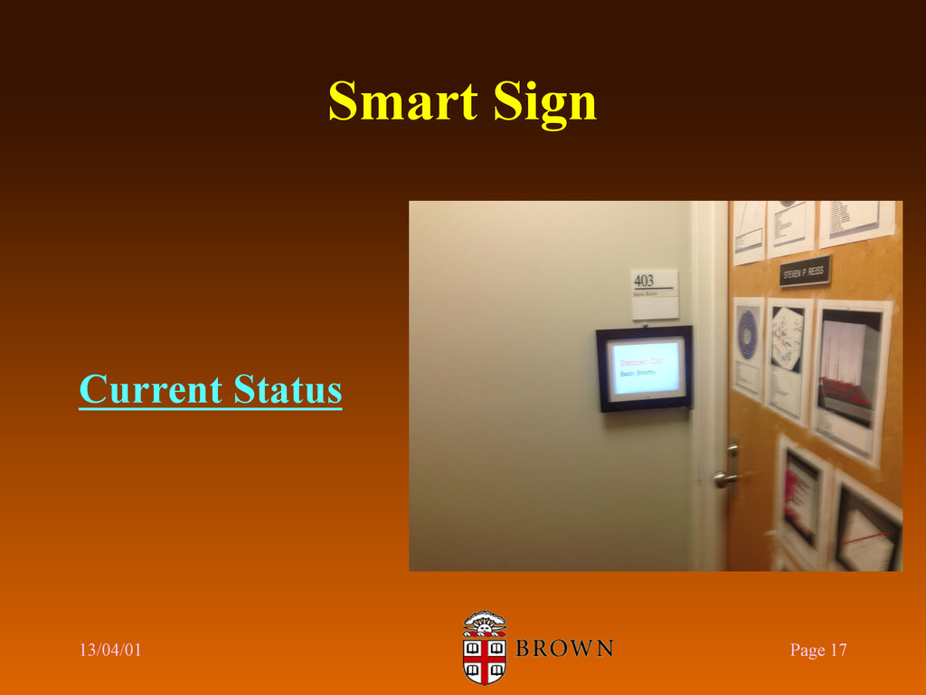 Smart Sign Current Status 13/04/01 Page 17