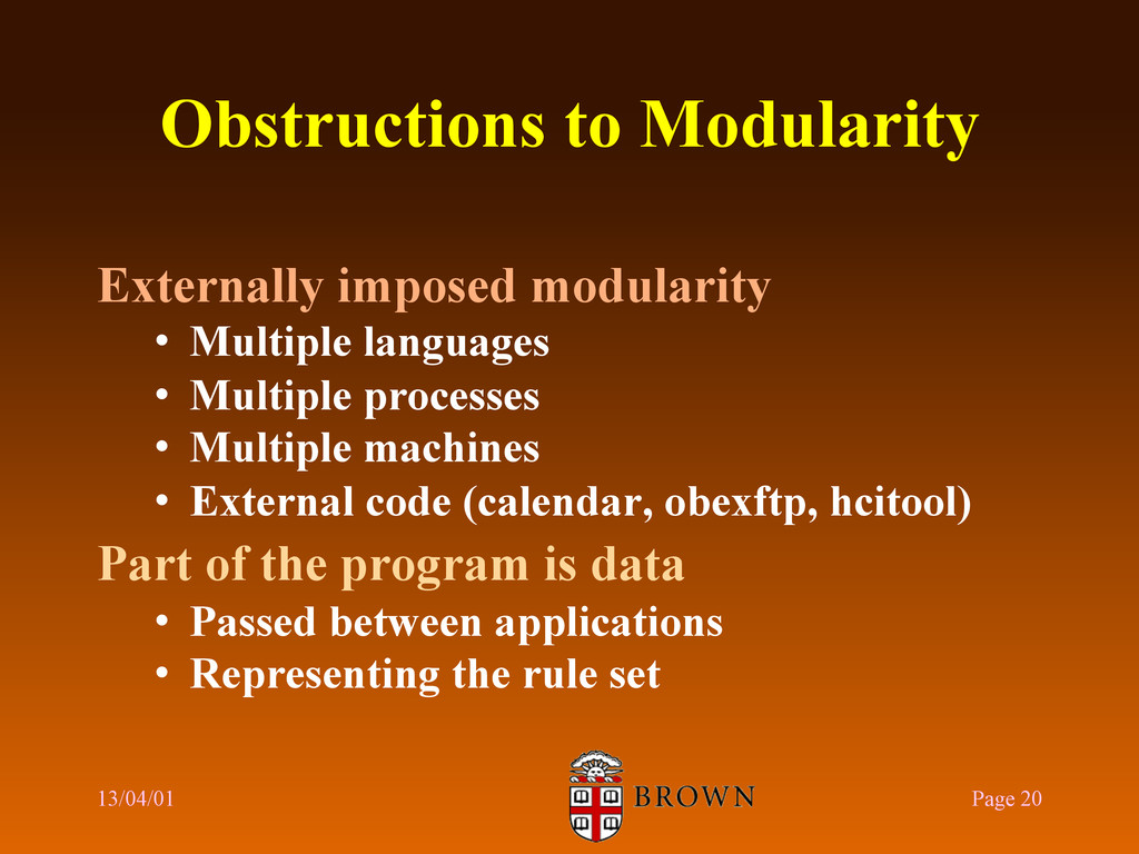 Obstructions to Modularity Externally imposed m...