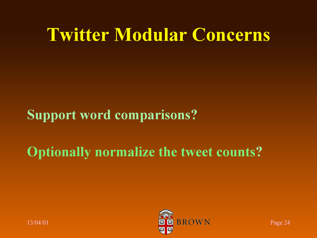 Twitter Modular Concerns Support word compariso...