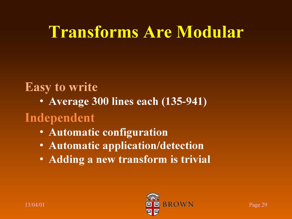 Transforms Are Modular Easy to write • Average...