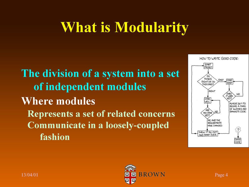 What is Modularity The division of a system int...